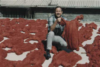 Bob Rice among scains of dyed wool