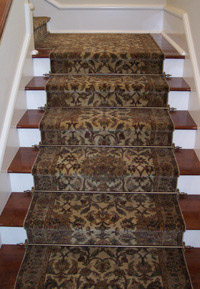 Example of Stair Carpeting and Stair Rod Use